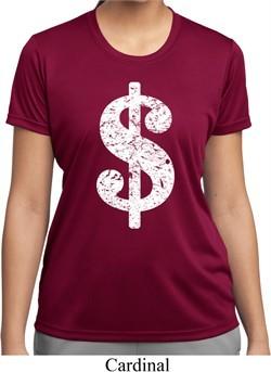 Ladies Funny Shirt Distressed Dollar Sign Moisture Wicking Tee T-Shirt