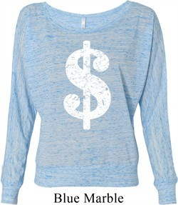 Ladies Funny Shirt Distressed Dollar Sign Off Shoulder Tee T-Shirt