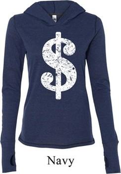 Ladies Funny Shirt Distressed Dollar Sign Tri Blend Hoodie Tee T-Shirt