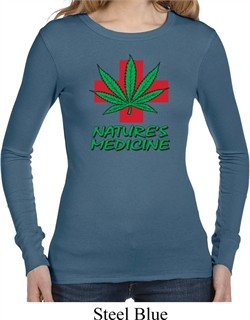 Ladies Funny Shirt Natures Medicine Long Sleeve Thermal Tee T-Shirt