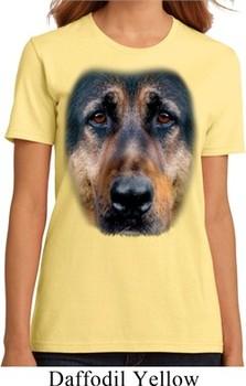 Ladies German Shepherd Shirt Big German Shepherd Face Organic T-Shirt