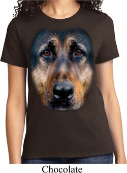 Ladies German Shepherd Shirt Big German Shepherd Face Tee T-Shirt