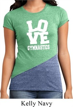 Ladies Gymnastics Shirt Love Gymnastics Tri Blend Crewneck Tee T-Shirt