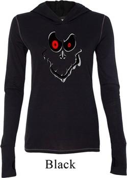 Ladies Halloween Shirt Ghost Face Tri Blend Hoodie Tee T-Shirt