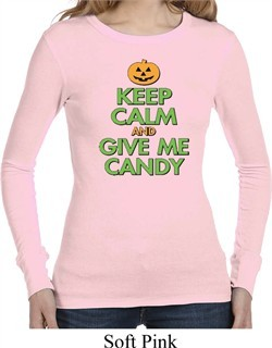 Ladies Halloween Shirt Give Me Candy Long Sleeve Thermal Tee T-Shirt