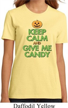 Ladies Halloween Shirt Keep Calm and Give Me Candy Organic Tee T-Shirt