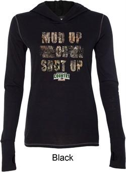 Ladies Mossy Oak Mud Up or Shut Up Tri Blend Hoodie Shirt
