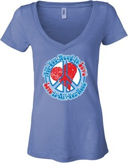 Ladies Peace Shirt All You Need is Love Burnout V-neck Tee T-Shirt