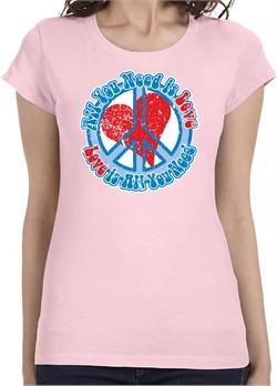 Ladies Peace Shirt All You Need is Love Longer Length Tee T-Shirt