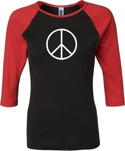 Ladies Peace Shirt Basic Peace White Raglan Tee T-Shirt