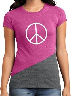 Ladies Peace Shirt Basic Peace White Tri Blend Crewneck Tee T-Shirt