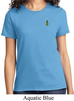 Ladies Pineapple Patch Pocket Print T-shirt