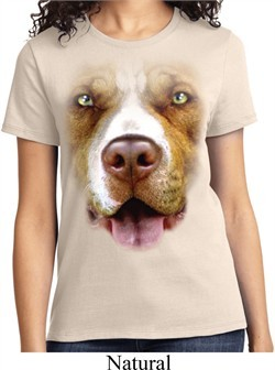 Ladies Pit Bull Shirt Big Pit Bull Face Tee T-Shirt