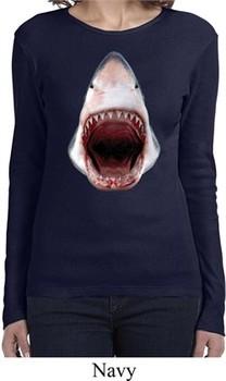 Ladies Shark Shirt 3D Shark Long Sleeve Tee T-Shirt