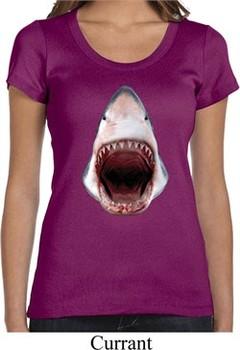 Ladies Shark Shirt 3D Shark Scoop Neck Tee T-Shirt