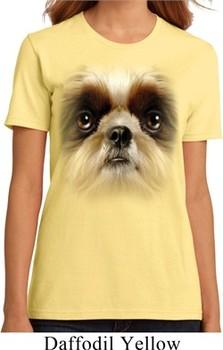 Ladies Shih Tzu Shirt Big Shih Tzu Face Organic T-Shirt