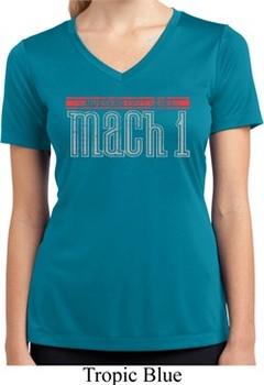 Ladies Shirt 50 Years Mach 1 Moisture Wicking V-neck Tee