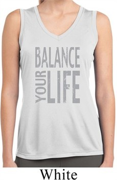 Ladies Shirt Balance Your Life Sleeveless Moisture Wicking Tee T-Shirt