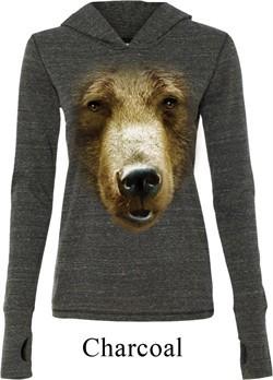 Ladies Shirt Big Grizzly Bear Face Tri Blend Hoodie Tee T-Shirt