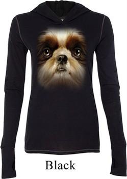 Ladies Shirt Big Shih Tzu Face Tri Blend Hoodie Tee T-Shirt