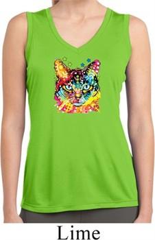 Ladies Shirt Blue Eyes Cat Sleeveless Moisture Wicking Tee T-Shirt