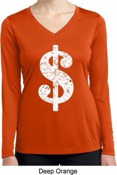 Ladies Shirt Distressed Dollar Sign Dry Wicking Long Sleeve Tee