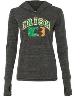 Ladies Shirt Distressed Irish Shamrock Tri Blend Hoodie Tee T-Shirt
