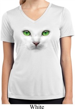 Ladies Shirt Green Eyes Cat White Moisture Wicking V-neck Tee T-Shirt