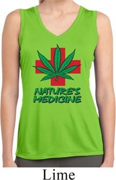 Ladies Shirt Natures Medicine Sleeveless Moisture Wicking Tee T-Shirt