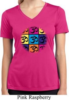 Ladies Shirt Pop Art Om Moisture Wicking V-neck Tee