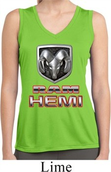 Ladies Shirt Ram Hemi Logo Sleeveless Moisture Wicking Tee T-Shirt