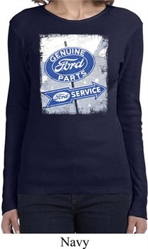 Ladies Shirt Vintage Sign Genuine Ford Parts Long Sleeve Tee T-Shirt