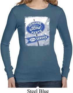 Ladies Shirt Vintage Sign Genuine Ford Parts Long Sleeve Thermal Tee