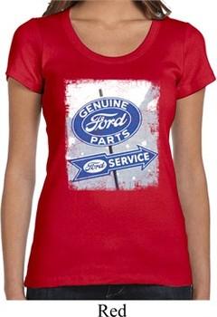 Ladies Shirt Vintage Sign Genuine Ford Parts Scoop Neck Tee T-Shirt