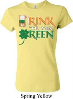 Ladies St Patrick's Day Shirt Drink Til Yer Green Crewneck Tee T-Shirt