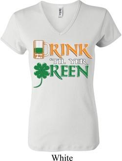 Ladies St Patrick's Day Shirt Drink Til Yer Green V-neck Tee T-Shirt