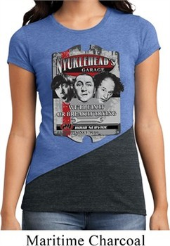Ladies Three Stooges Shirt Nyukleheads Garage Tri Blend Crewneck Tee