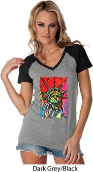 Ladies USA Tee Statue of Liberty Painting Contrast V-neck