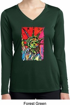 Ladies USA Tee Statue of Liberty Painting Dry Wicking Long Sleeve