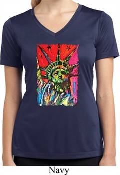 Ladies USA Tee Statue of Liberty Painting Moisture Wicking V-neck