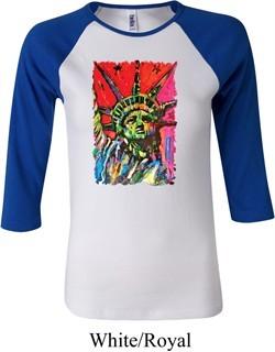 Ladies USA Tee Statue of Liberty Painting Raglan Shirt