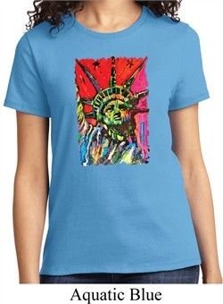 Ladies USA Tee Statue of Liberty Painting T-shirt