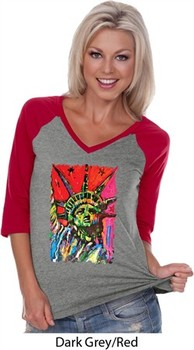 Ladies USA Tee Statue of Liberty Painting V-neck Raglan
