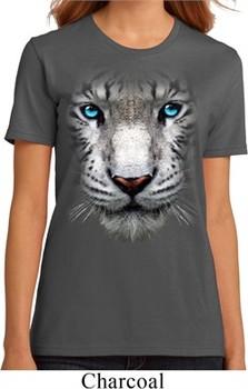 Ladies White Tiger Shirt Big White Tiger Face Organic T-Shirt