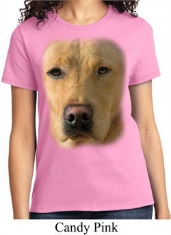 Ladies Yellow Lab Shirt Big Yellow Lab Face Tee T-Shirt