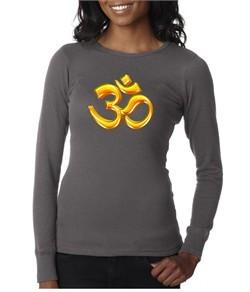 Ladies Yoga Shirt 3D OM Long Sleeve Thermal Tee T-Shirt