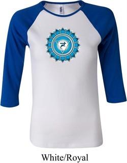 Ladies Yoga Shirt Blue Vishuddha Raglan Tee T-Shirt