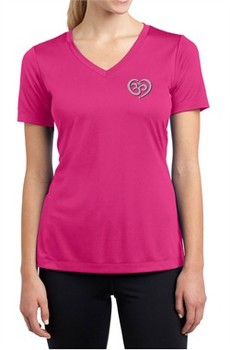 Ladies Yoga Shirt OM Heart Pocket Print Moisture Wicking V-neck Tee