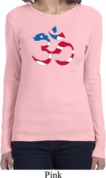 Ladies Yoga Shirt Patriotic Om Long Sleeve Tee T-Shirt