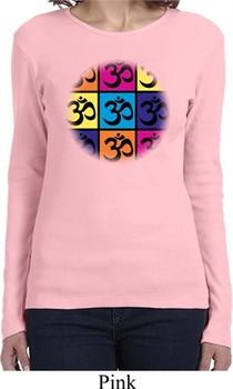 Ladies Yoga Shirt Pop Art Om Long Sleeve Tee